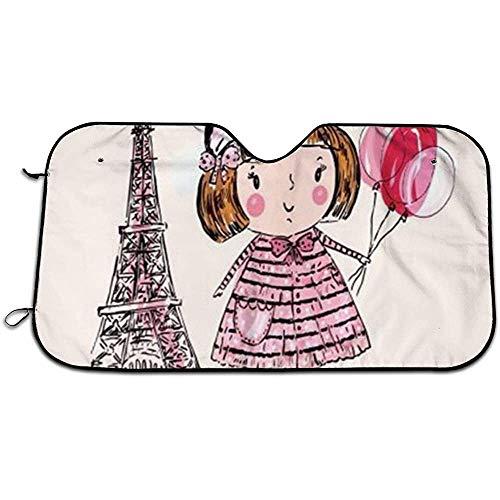 Heat Shield Shade, Auto Front Window Zonneschaduw, Zon En Warmte Reflector,Paris Is altijd een goed idee Mooi Roze Meisje Met Ballon Houdt Voertuig Koel, Universele Auto Voorruit Zonnescherm M(140X76CM) 1623