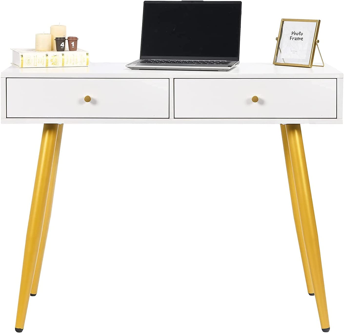 Writing Computer Desk with 2 Attention brand Wide De Office Drawers Home price Compact