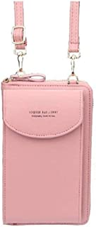 Small Crossbody Cell Phone Wallet Coin Purse Organizer with Pocket and Credit Card Slots for Girls, Women (Pink)