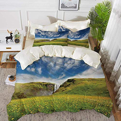 161 Waterfall,Waterfall Landscape with Daisies in the Meadow Nature Theme,Green Blue White,Hypoallergenic Microfibre Duvet Cover Set 200 x 200cm with 2 Pillowcase 50 X 80cm