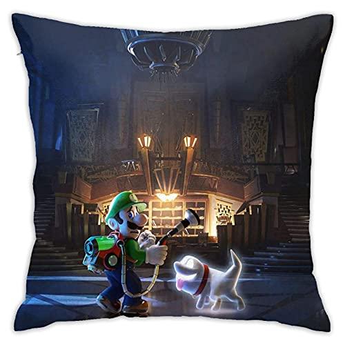 Luigis Ma_Nsion 3 Game Hero Kissenbezüge, dekorativer quadratischer Kissenbezug für Couch Wohnzimmer Sofa Bett mit unsichtbarem Reißverschluss 45,7 x 45,7 cm