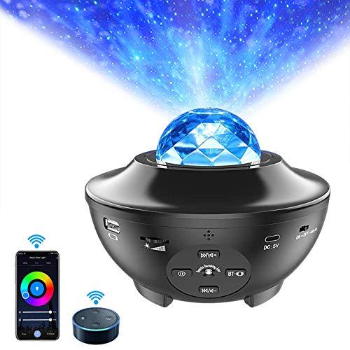 LED Sternenhimmel Projektor Nachtlicht,Smart LED Projektor ALED LIGHT Sternenhimmel Musik Nachtlicht Lampe mit Fernbedienung APP-Steuerung Sternen Nachtlicht Projektorlampe für kinder Geschenke Zimmer