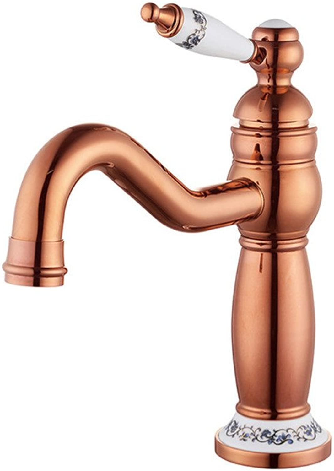 Hlluya Professional Sink Mixer Tap Kitchen Faucet Hot and cold basin tap full copper single handle basin mixer