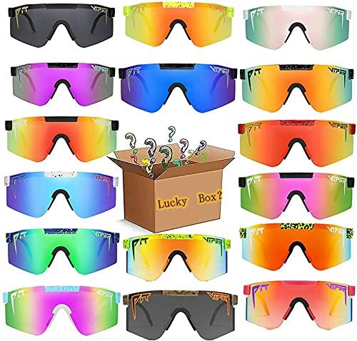 SXZHRUI 2PCS Pit Vipers Gafas de Sol Que no se repiten Lucky Box Nuevo diseño Deportivo Pit - & - Vipers Gafas de Sol polarizadas Ciclina Exterior a Prueba de Viento Tr90 Marco Uv400