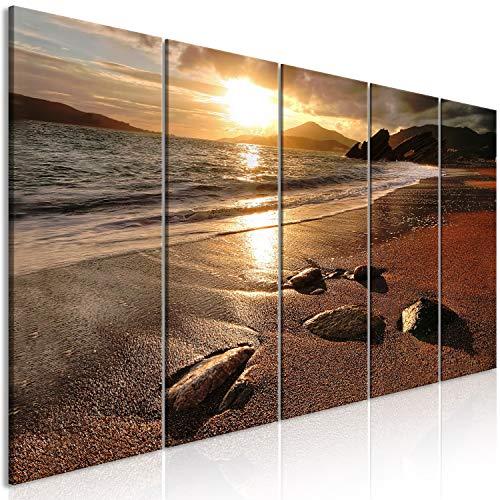 murando Cuadro en Lienzo Mar y Playa 225x90 cm 5 Partes Impresión en Material Tejido no Tejido Impresión Artística Imagen Gráfica Decoracion de Pared Paisaje c-B-0551-b-m