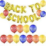 FEPITO Banner publicitario de Regreso a la Escuela con 40 Piezas Bienvenido a la Escuela Globos de látex para el Primer día de Decoraciones Escolares, artículos para Fiestas en el salón de Clases