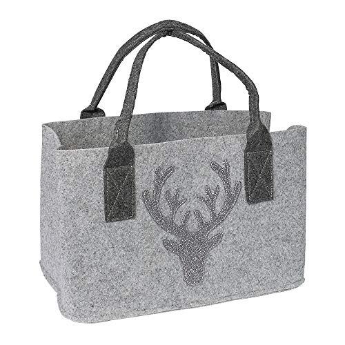 GILDE Filztasche mit Hirsch (Glitter) als Einkaufstasche/Holztasche/Strandtasche – reißfest & trägt viel Gewicht – polstert Ihre Einkäufe sicher ab und besitzt viel Stauraum (Hirsch Hellgrau)