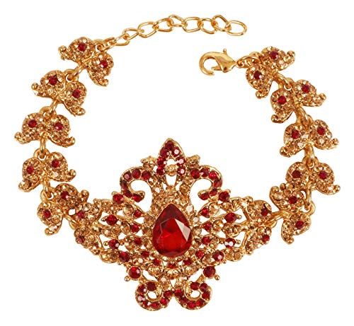 Touchstone New Indian Bollywood Choice Contemporary Pretty Paisley Workmanship Faux Citrine Ruby Rhinestones Style Definition Designer Jewelry Bracelet In Gold Tone For Women.