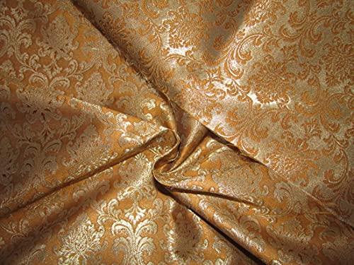 The Yard - Tela de brocado de seda, color mostaza x dorado metálico, 44 pulgadas BRO740[2]