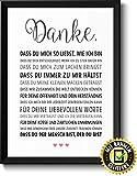 Danke Liebe Bild im schwarzem Holz-Rahmen Geschenkidee Geschenke für Frauen Männer zum Geburtstag...