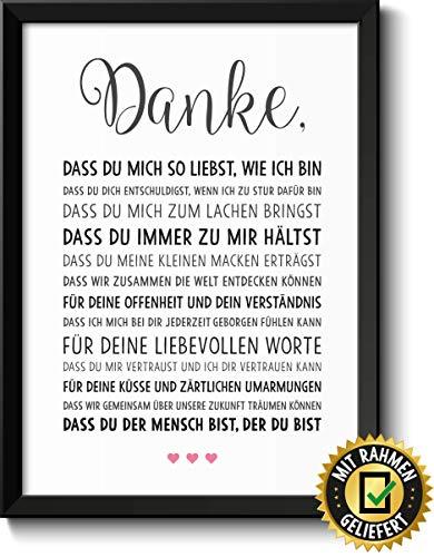 Danke Liebe Bild im schwarzem Holz-Rahmen Geschenkidee Geschenke für Frauen Männer zum Geburtstag Jahrestag