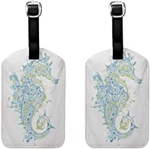 Animal Small luggage tag Greek Culture Art Textured Ancient Seahorse Idol Spiritual Life Cycle Artwork Pale Blue Green (2 PCS)