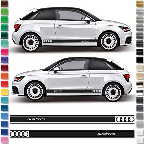 Auto-Dress® 2 x zijstrepen, sticker voor Audi A1 Quattro 100 witte glans.