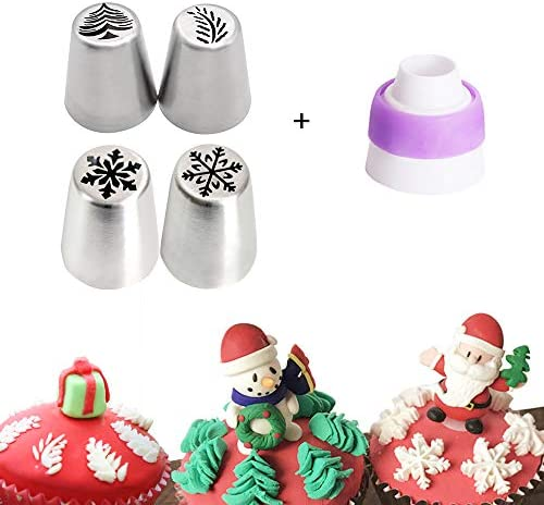 5 PCS Christmas Pastry Icing Piping Nozzles Special Stainless Steel Russian Piping Tips Set product image