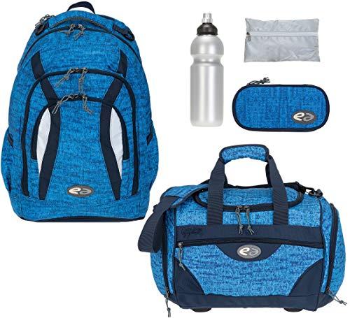 Schulrucksackset Yzea Go Rucksack Jungen Mädchen Schulrucksack Sporttasche Mäppchen Regenhülle Trinkflasche 5 Teile (Knit (Blau))