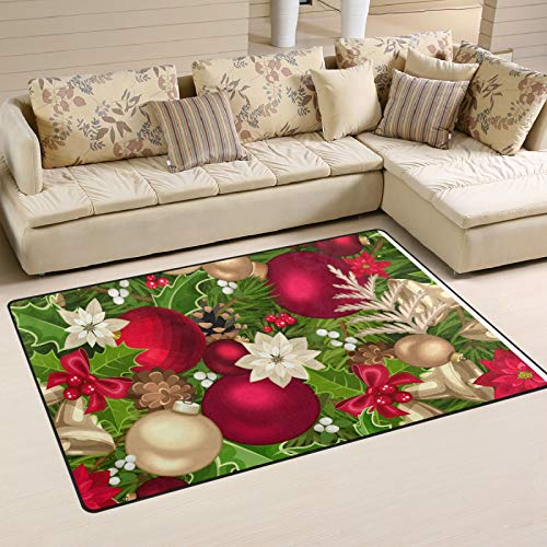 UMIRIKO Merry Christmas Poinsettia Rug Bell Laundry Collection Area Rug Non-Slip Floor Carpet Doormat for Bathroom Bedroom Decor 60 x 39 in 2020987