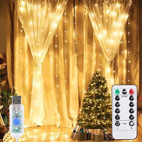 600 LED USB Lichtervorhang, ALED LIGHT 2 Pack 3x3M 2x300 LED Lichternetz Wasserfest Sterne Lichterkette Warmweiß 8 Modi Vorhang Lichterketten für Weihnachten Kinderzimmer Innenbeleuchtung Außen Party