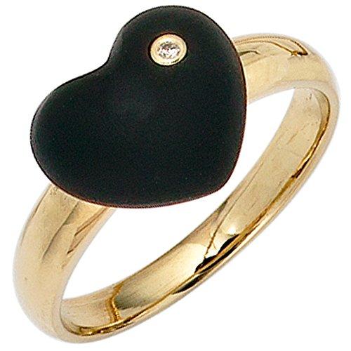 JOBO Damen-Ring aus 585 Gold mit Onyx-Herz und Diamant Größe 56
