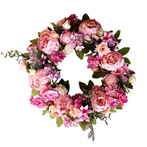 Garland Rosado del Peony de la Guirnalda de la Flor Artificial de la decoración de la Flor de la Puerta de la Guirnalda Colorida Puerta Colgando Colgar de la Pared Decoración