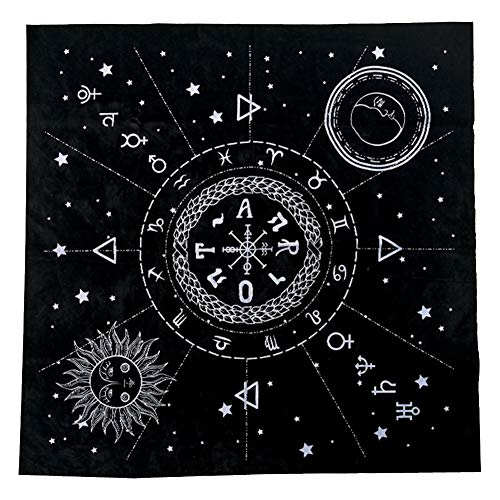szlsl88 Mantel de Tarot de 19 Pulgadas, Tela de Tarot, Altar pagano Triple astrología Tela de Tarot Impresiones misteriosas Cubierta de Mesa de Tarot