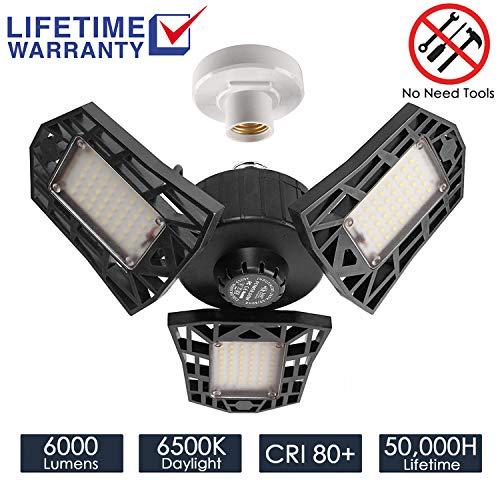 Garage Lights 60W LED Garage Lighting - 6000LM 6500K LED Three-Leaf Garage Ceiling Light Fixtures, LED Shop Light with Adjustable Multi-Position Panels, Triple Glow Light for Garage, Warehouse/Worksho