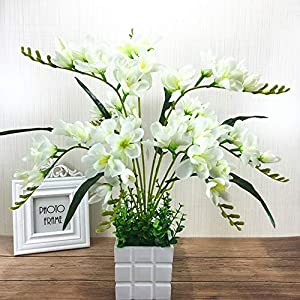 Adoolla Artificial Freesia Flower with 9 Branches for Home Living Room Decor White