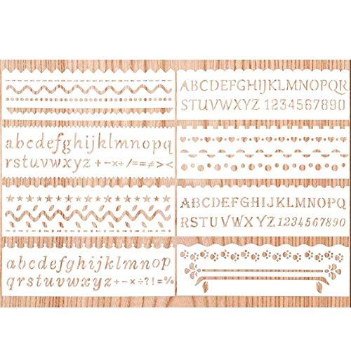 8 Stück Tagebuch Schablonen zum Basteln wiederverwendbar, Sculpting Kunststoff Zeichnung Malerei Schablone Zubehör für Bullet Journal, Scrapbooking, Fotoalbum, Körpermalfarben (Alphabet & Wave)