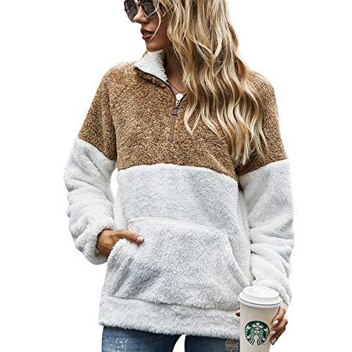 Tops de Manga Larga para Mujer, Costuras con Estampado de Leopardo, Chaqueta Suelta de suéter de Felpa con Efecto Tie-Dye