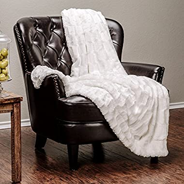 Chanasya Super Soft Fuzzy Faux Fur Elegant Rectangular Embossed Throw Blanket | Fluffy Plush Sherpa Cozy Microfiber Off White Blanket for Bed Couch Living Room Fall Winter Spring (50  x 65 ) - White