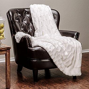 Chanasya Super Soft Fuzzy Fur Elegant Faux Fur Rectangular Embossed Pattern With Fluffy Plush Sherpa Cozy Warm Off White Microfiber Throw Blanket (50  x 65 ) - Off White