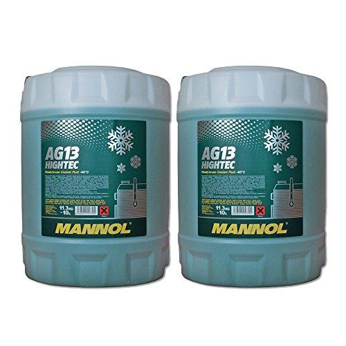 MANNOL 2 x 10L AG13 Antifreeze/Kühlerfrostschutz -40 Grad Ready-Mix Grün
