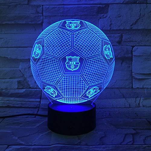 Luz Nocturna 3d, LÐmpara De Noche Led, Luz Para Dormir, Football Barcelona Table Lamp Touch Change Illusion Usb Dormitorio Decoración para niñas y niños Cumpleaños Navidad Halloween Mejores regalos