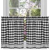 GoodGram Buffalo Check Plaid Gingham Custom Fit Farmhouse Café Styled Window Tier Curtain Treatments - Assorted Colors & Sizes (Black, 24 in. Length)