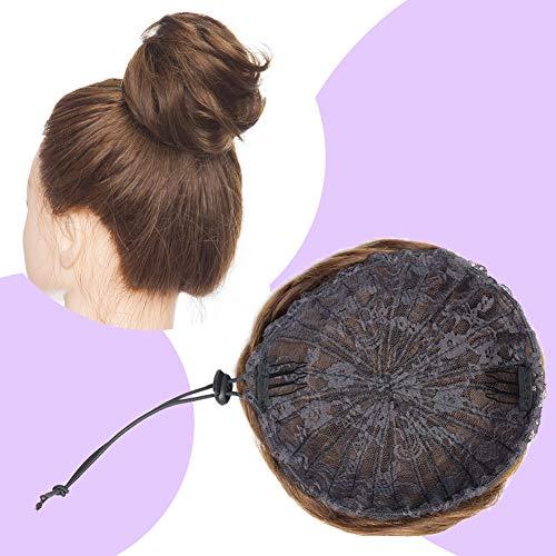 Human Hair Bun Scrunchy Updo Drawstring Messy Bun Hair Piece Clip in Bun Wavy Curly Chignons Short Puff Ponytail Hairpieces for Women Wedding Party Medium Brown #4