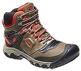 KEEN Men's Ridge Flex Mid Height Flexible Waterproof Hiking Shoe, Dark Olive/Ketchup, 11.5 Wide