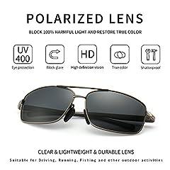 SUNGAIT Ultra Lightweight Rectangular Polarized Sunglasses Man UV400 Protection (Gunmetal Frame Gray Lens, 62) 2458 QKHUK #1