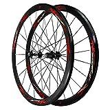 Ruote per Bicicletta 700C,Cerchio in Lega di Alluminio A Doppio Strato Ruota per Bici da Strada Altezza del Cerchio 40mm Freno C/V (Color : Red)