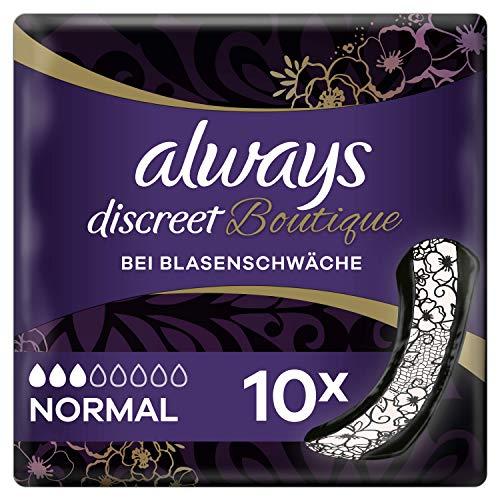 Always Discreet Boutique Inkontinenz-Einlagen Normal bei Blasenschwäche, 10 Stück