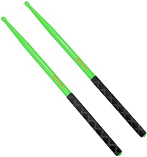 5A Nylon Drumsticks for Drum Set Light Durable Plastic Exercise ANTI-SLIP Handles Drum Sticks for Kids Adults Musical Instrument Percussion Accessories Green