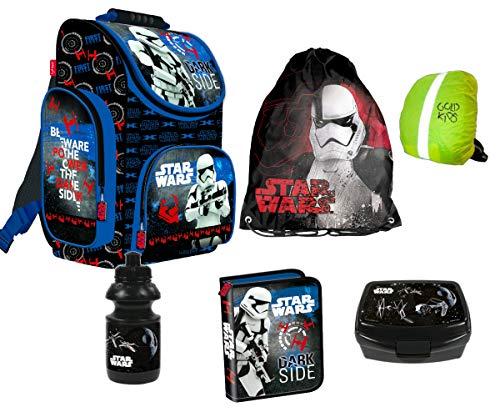 Star Wars Clone 6-Teile Schulranzenset Schulranzen Ranzen Rucksack, Federmäppchen 1-Fach, Turnsack, Frühstückbox, Trinkflasche, Regenhülle Jungen Set 6-teilig