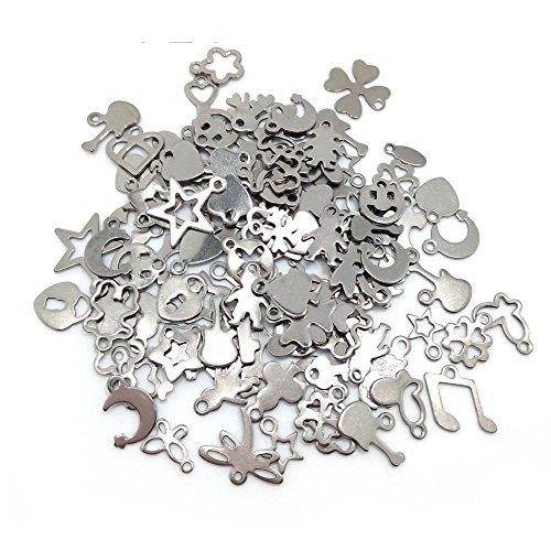 100 ciondoli a forma di piccolo ciondolo in acciaio inox per braccialetti e collane fai da te