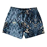 Kids White Navy Blue Marble Board Shorts Quick Dry Stretch Surf Swim Shorts for Boys or Girls