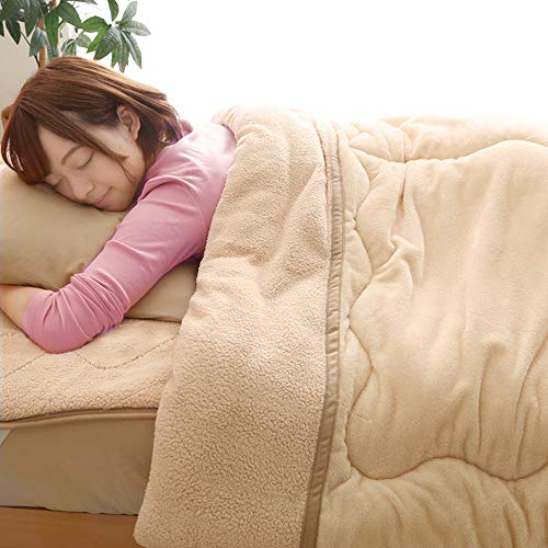 アイリスプラザ毛布布団ボリューム毛布フランネル×シープ調ボア3層構造綿入り洗えるシングルキャメル