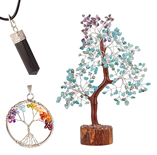 JAGASY Turquoise Amethyst Money Tree Necklace 7 Chakra Pendant Gemstone Crystal Reiki Healing Feng Shui Buddha Bonsai Wealth Prosperity Aura Cleansing Good Luck Home Office Décor Gift Wealth Jewelry
