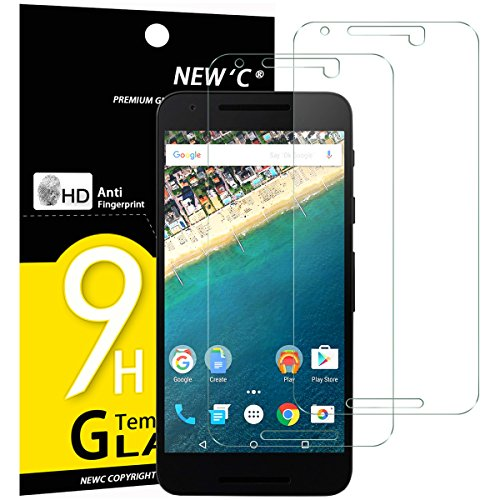 NEW'C PanzerglasFolie Schutzfolie für LG Google Nexus 5X, [2 Stück] Frei von Kratzern Fingabdrücken & Öl, 9H Festigkeit, HD Bildschirmschutzfolie, 0.33mm Ultra-klar, Bildschirmschutzfolie LG Nexus 5X