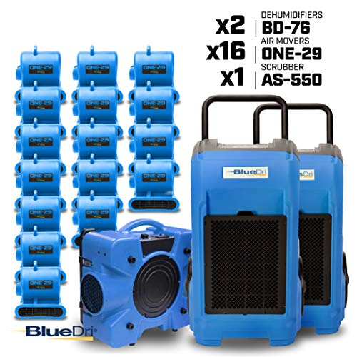 Best Deals! BlueDri Resto MAX 2 16X 1/3 HP One-29 Air Movers Carpet Dryer Blower Floor Fan 2X 76 Pin...
