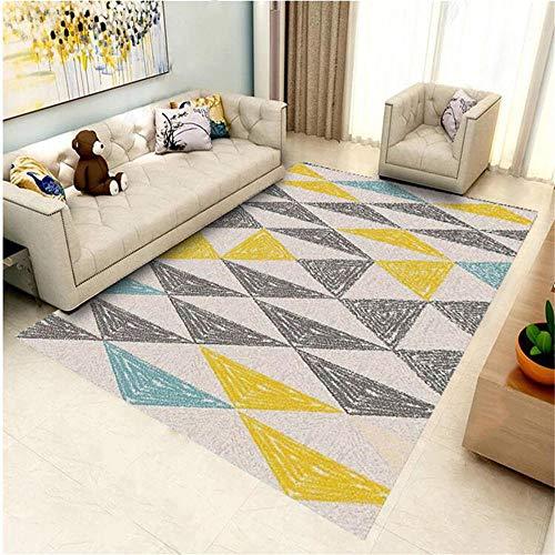 DJHWWD Happy Decor Kids Teppich Teppich grau gelb Fuzzy Dreieck Muster schönen Teppich Anti-Rutsch Mädchen Teppich Antirutsch Für Teppich gelb 160 x 230 cm