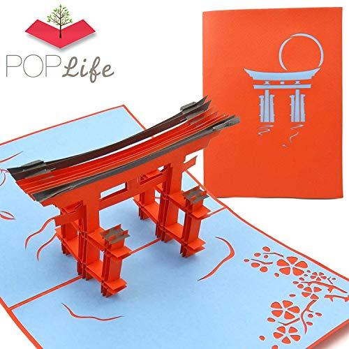 PopLife Cards Popup-Grußkarte Torii Japan-Tors 3d für alle Gelegenheiten Asien-Reisende, Architekt, japanische Geschichtsliebhaber faltet für das Versenden des Geburtstages, Abschluss, Ruhestand, Jah