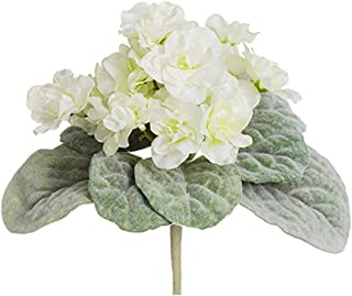 Small Artificial Plant with Cream African Violets - 8