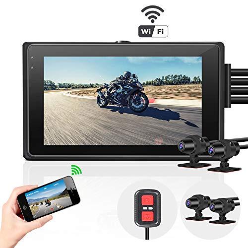 Vsysto Motorradkamera Dashcam, 3,0 \'\' Bildschirm Doppellinse HD 1080P vorne und hinten WiFi Fahrschreiber 170 ° Weitwinkel wasserdichte DVR